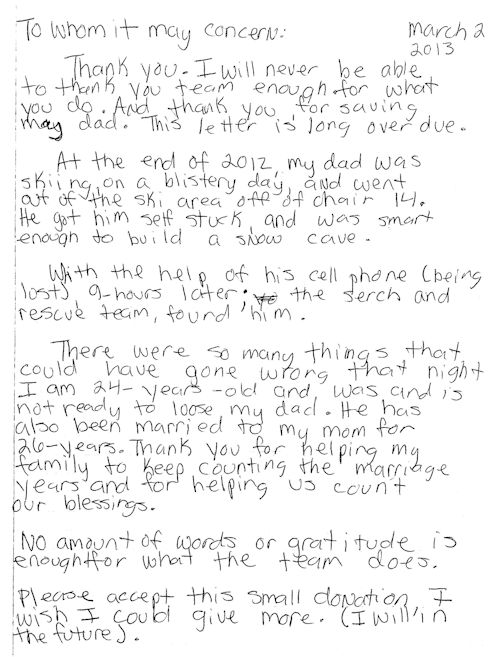 December 30-31, 2012 rescue Thank You Note