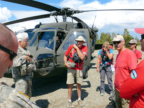 Reviewing plans with helicopter crew