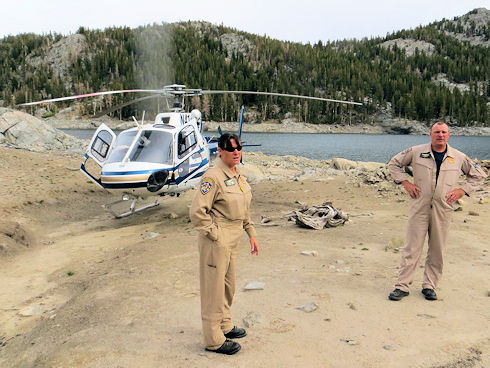 Ops 3-754 Marie Lakes - CHP helicopter arrived to pickup team