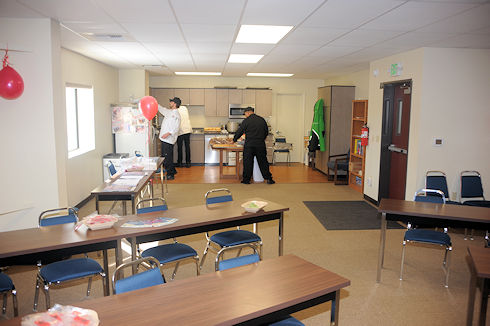 Mammoth Mountain Caterers preparing food in upstairs meeting room